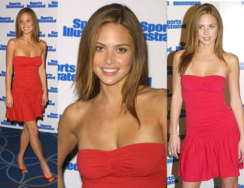 Josie Maran wearing red dresses